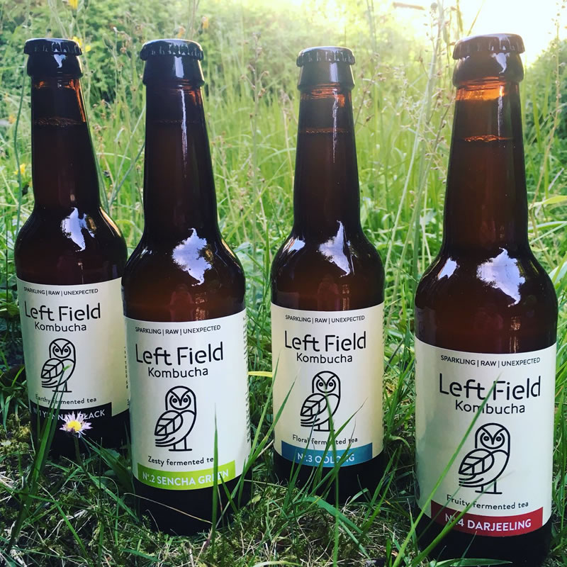 Bottles of Left Field Kombucha